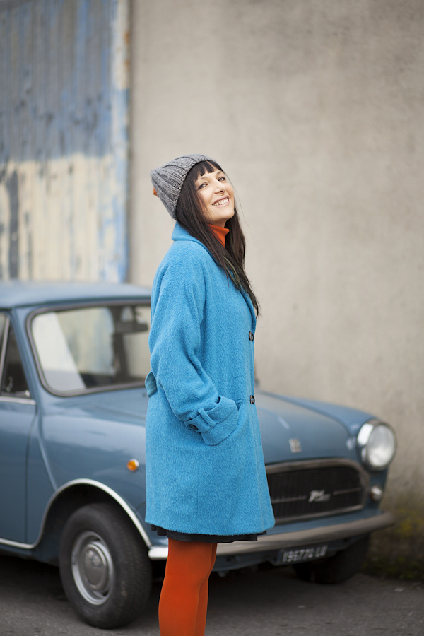 Smilingischic, fashion blog, A blue and orange outfit, streetstyle, blue coat Asos, Smile