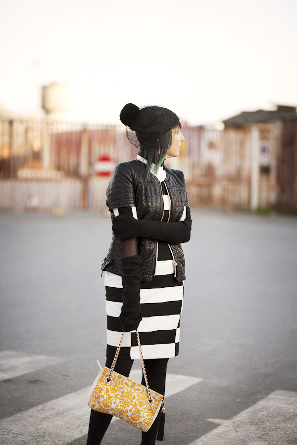 Smilingischic, F.I.N:E - Fun Is Not Expensive , Bag,  Party Coco, Collection S/S2013, Venice, outfit, black and white, striped, stretstyle