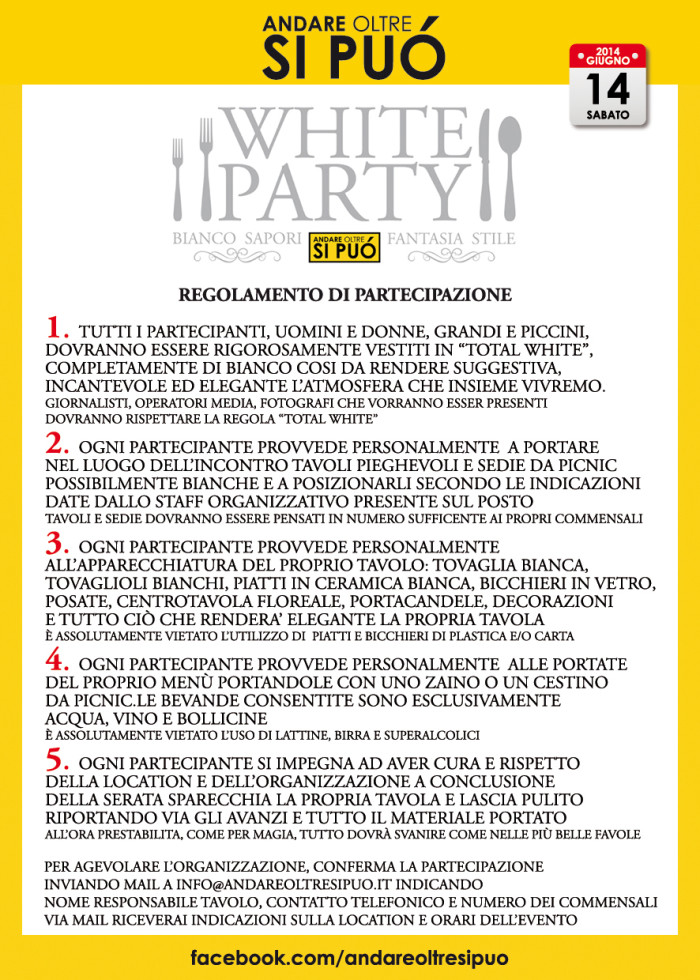 UNICO_1, regolamento white party a Lucca
