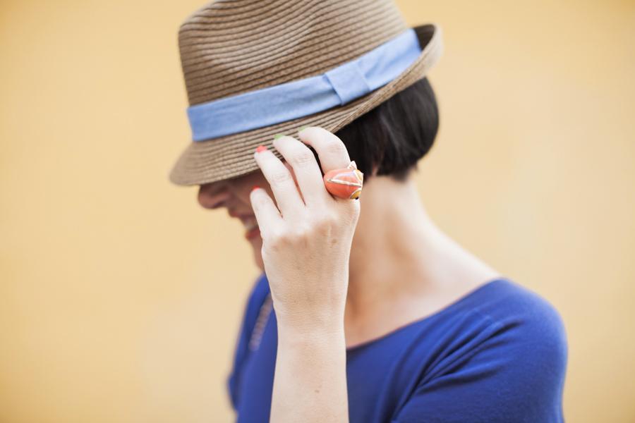 Smilingischic -1008, fashion blog, cappello paglia con tesa , anello con carpa,
