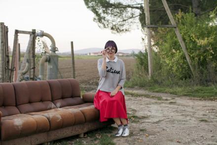 Smilingischic - Alero design-1001, occhiali da vista rotondi I believe, felpa grigia con colletto,