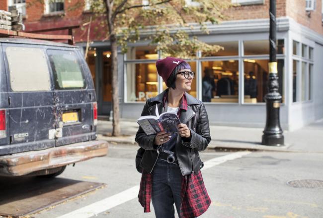 Smilingischic - Greenwich Village - New York-1004, Sandra Bacci, tartan, salopette di Jeans
