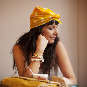 smilingischic Sandra Bacci outfit Soup in Town turbante a pois