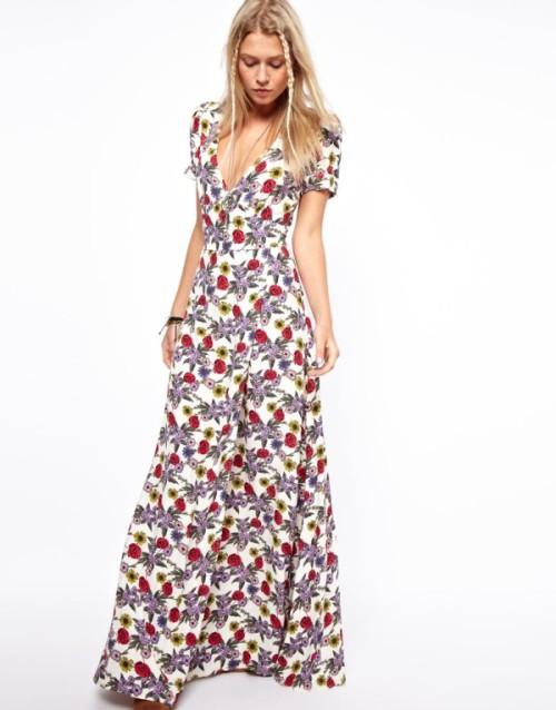 vestito lungo con stampa a fiori e scollo a V, Asos, long dress