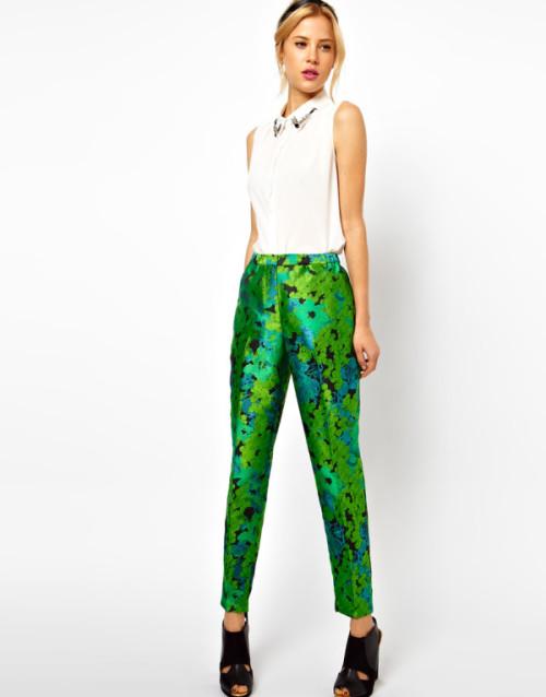 Pantaloni jacquard con motivo floreale, Asos