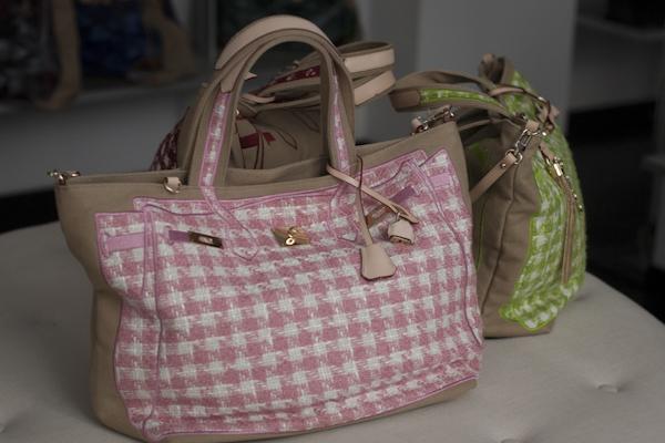 smilingischic, fashion blog, presentazione  V°73, it -bag, Elisabetta Armellin , collezione primavera estate 2012/2013, scacchi bianco e rosa
