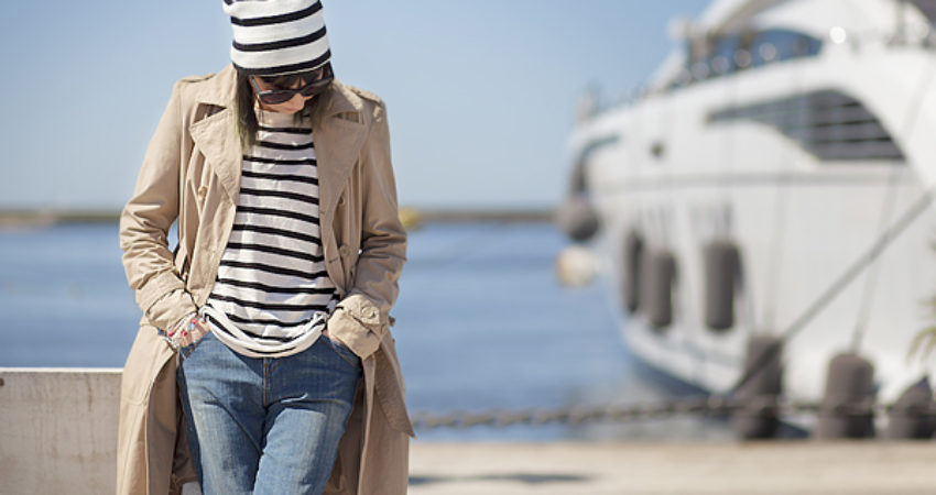 Walking down the dock in a striped style