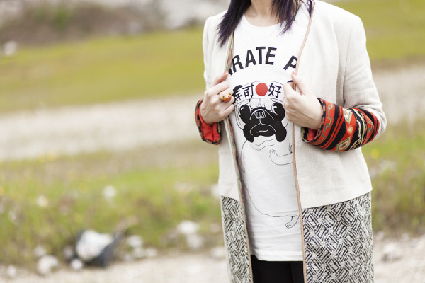 Smilingischic, fashion blog, Japan girl? I'm here! Japanese Style, maniche ricamate, stile giapponese primavera estate estate 2013,  trend di stagione, stile giapponese Zara, Karaté Pug, outfit