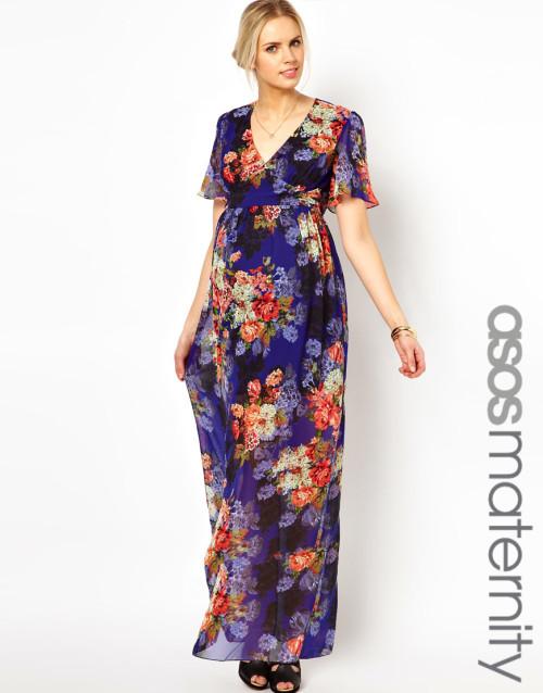 maternity, vestito lungo con stampa floreale vintage, Asos
