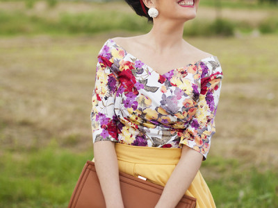 smilingischic, fashion blog, Sandra Bacci, wedding time, vintage style, acconciature anni 50, look anni 50, Nara Camicie, gonna a ruota gialla, sorriso
