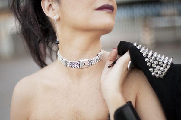 Smilingischic, fashion blog, Sandra Bacci, LuisaViaRoma, Firenze4ever Party,  outfit,  grunge, glam, punk!, Collar, collar Karl Lagerfeld , borchie,