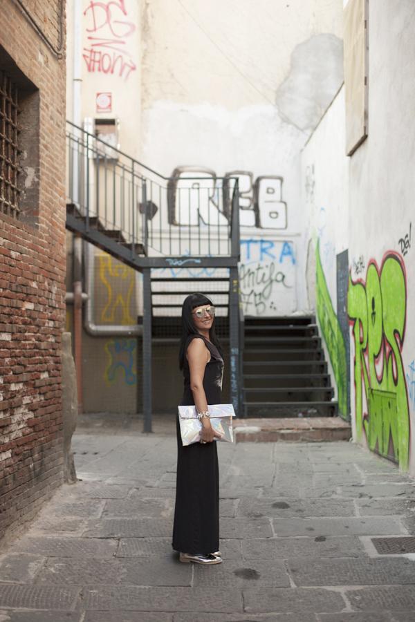 Smilingischic, fashion blog, Kitty, warm kitty, rock kitty, HYPE Sunglasses, Asos, Choies, silvery bag, cat, Cat Dace Skater Maxi Dress