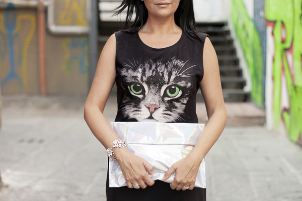 Soft Smilingischic, fashion blog, Kitty, warm kitty, rock kitty, Asos, Choies, silvery bag, cat, Cat Dace Skater Maxi Dress