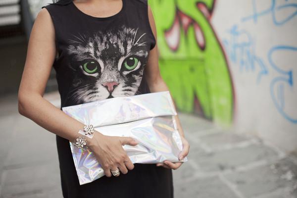 Smilingischic, fashion blog, Kitty, warm kitty, rock kitty, Asos, Choies, silvery bag, cat, Cat Dace Skater Maxi Dress