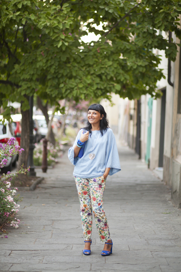 smilingischic, fashion bog, bye bye summer, flowers pants, heart, outfit, streetstyle