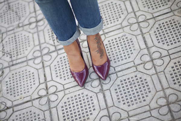 Smilingischic, fashion blog. dettagli scarpe, decolletè bordeaux, Motivi , F/W 20132014 Motivi,