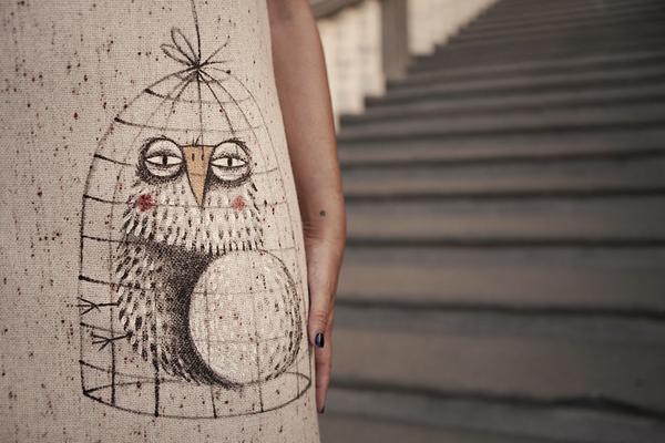 Smilingischic, fashion blog, Sandra Bacci, Style Lab, Contamination #2,  Ethical Style, Fashion in Pfanner, Animanili , palazzo pfanner, Lucca, eventi, Abito a trapezio ANIMANILI in stile LadyLike, dettaglio dipinto a mano