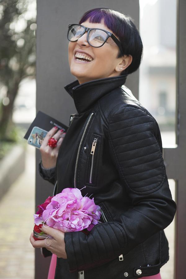 Smilingischic | Nora Scarpe di Lusso-1004, Smile, Sandra Bacci, borsa con fiori applicati, Sticko Cover