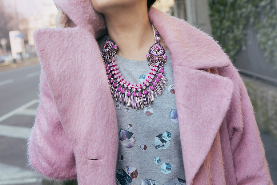 Smilingischic, fashion blog, outfit, pink coat, bijoux sodini, pink, cappotto Asos,