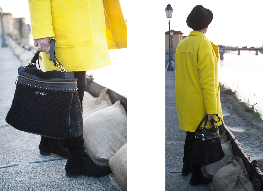 Smilingischic, fashion blog, yellow coat, sunset, Pisa , outfit, dettagli borsa , Twin set,  Quid, Accessori,