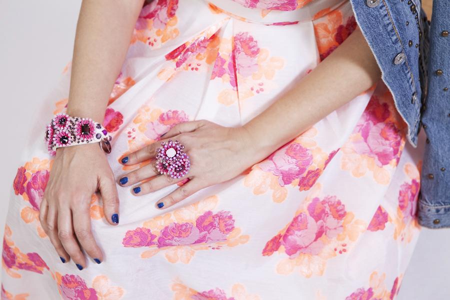 Smilingischic | Sandra Bacci -1004, bijoux sodini collezione estiva 2014 , amato bluette, gonna a ruota, dettaglio