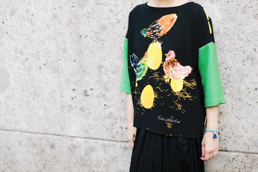 Smilingischic - Giulia Rositani-1009, Sandra Bacci, felpa con le uova, Milano fashion  week