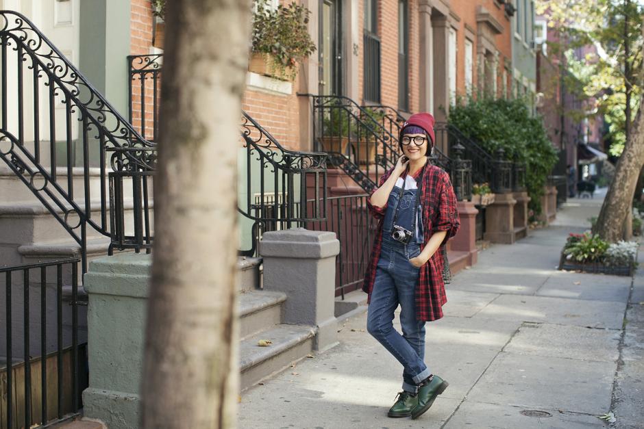 Smilingischic - Greenwich Village - New York-1001, street style, Fuji, , Dr Martens basse, Camicia Tartan, grunge style
