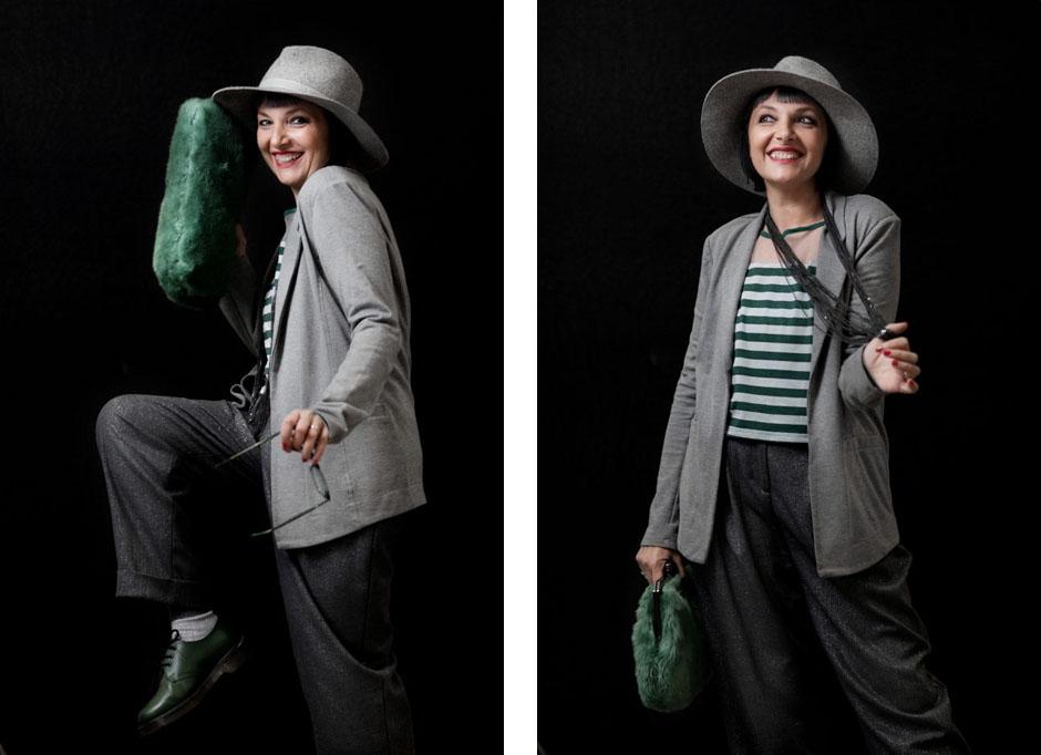 Smilingischic, ho sempre voluto fare la prof. borsa pelliccia Sodini, occhiali da vista Al e Ro Design