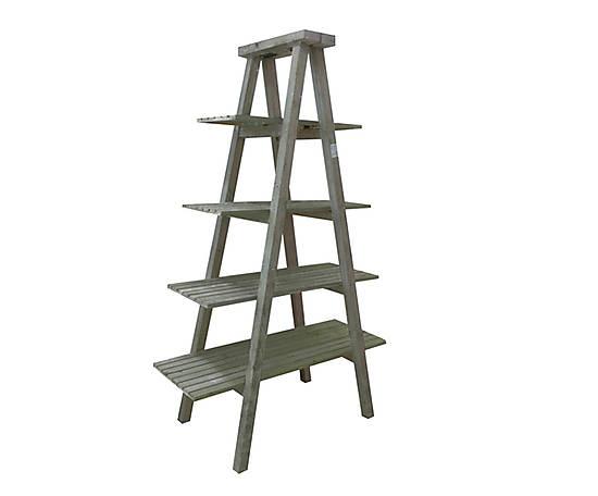 Scaffale in legno a scala con 4 ripiani Florence grigio -