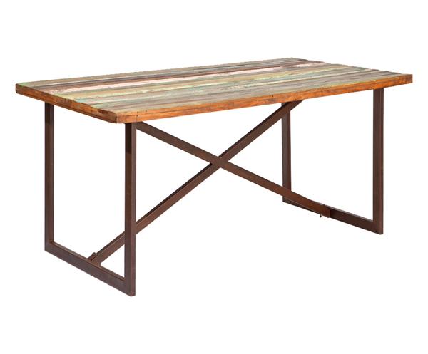 Tavolo in legno massello e metallo effetto etnico