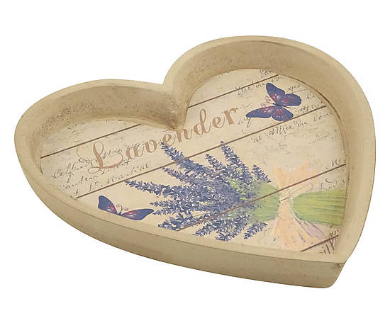 Vassoio a forma di cuore in legno Lavanda