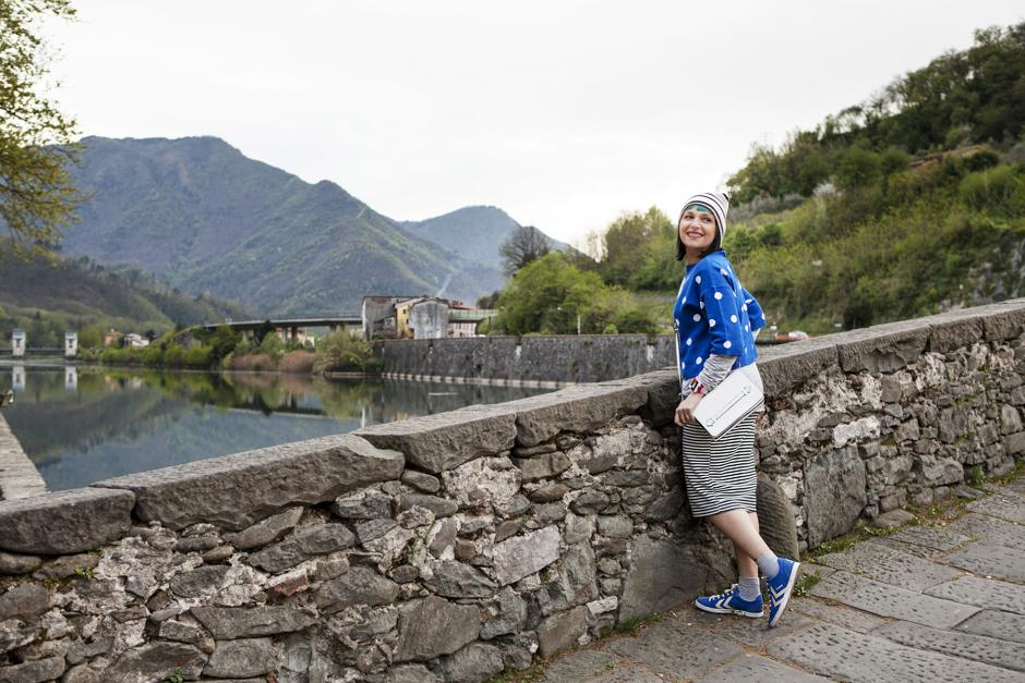 Ponte del Diavolo, maglia pois, outfit