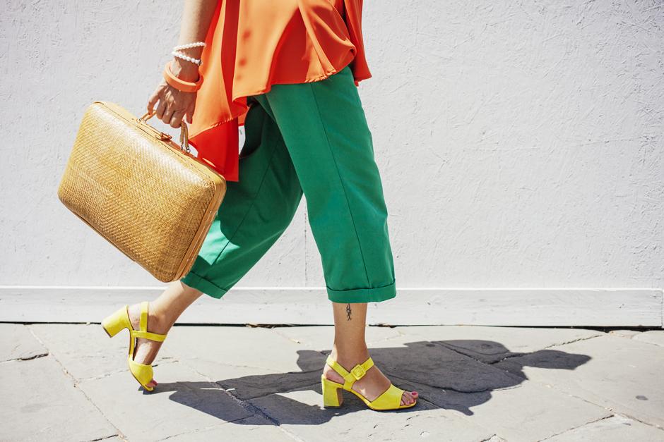 naracamicie 2015, camicia arancio, Sandra Bacci, Lucca , scarpe con tacco giallo