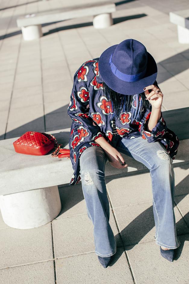 cappello borsalino azzurro