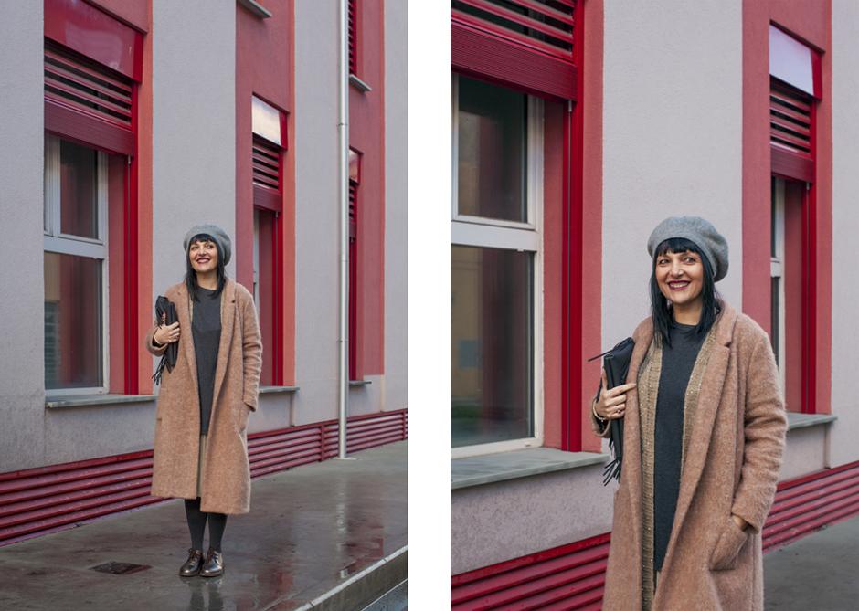 Sandra Bacci, outfit, cappotto cammello,