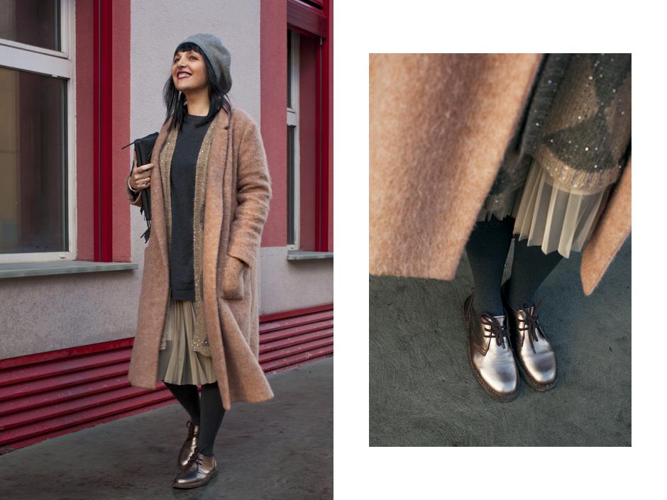 Sandra Bacc, Smilingichic, come indossare cappotto cammello, dettagli scarpe dorate