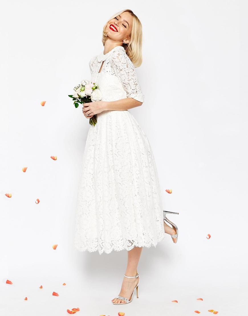Vestito da cerimonia da sposa longuette a fascia in pizzo con giacchino corto