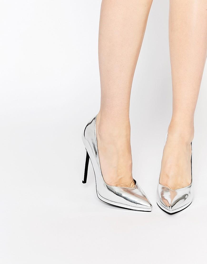 Scarpe argento con plateau nascosto