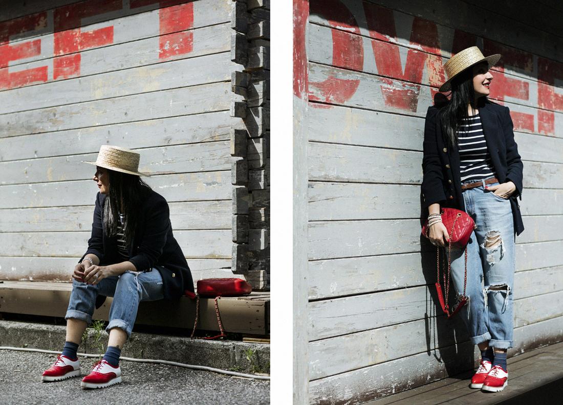 look in stile pargino, maglia righe, come-indossare-la-paglietta, Leontine Vintage