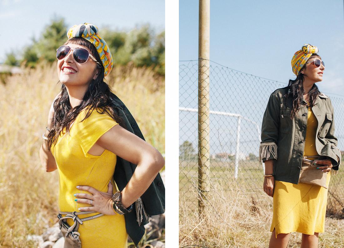 Sandra Bacci, abito giallo miawish P/E 2016, dettaglio turbante