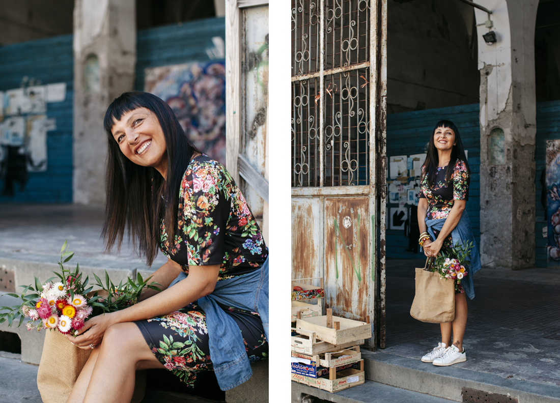 Sandra Bacci, Piazza del Mercato Lucca, abito a fiori Shein