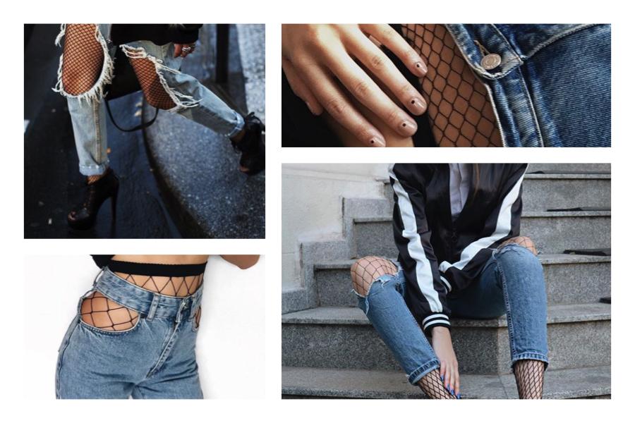 fishnet con jeans strappati