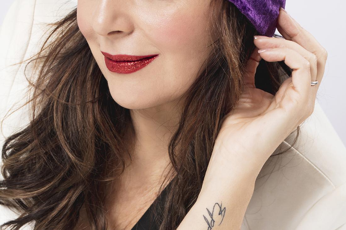 dettagli make-up bocca glitterata
