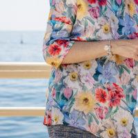 Sandra Bacci, bracciale queriot, blusa seta Edda Berg